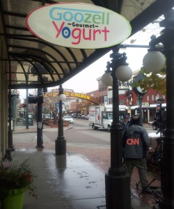 CNN filming in front of Goozell Yogurt in Golden, CO