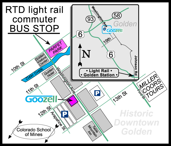 RTD Light Rail Map to Golden. Commuter BUS to Downtown Golden