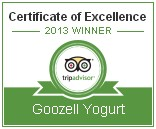 Trip Advisor's 2013 Certificate of Excellence Award - Goozell Yogurt & Coffee